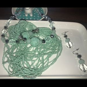 Jewelry - Green Beaded Necklace and Earring Set